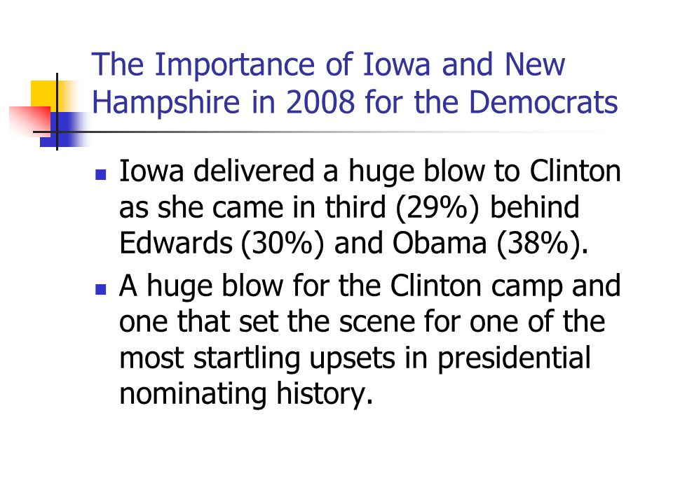 The Importance of Iowa and New Hampshire in 2008 for the Democrats Iowa delivered a huge blow to Clinton as she came in third (29%) behind Edwards (30