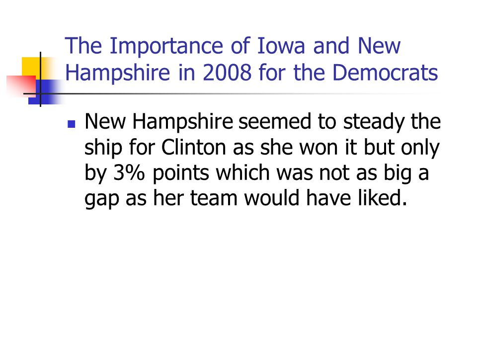 The Importance of Iowa and New Hampshire in 2008 for the Democrats New Hampshire seemed to steady the ship for Clinton as she won it but only by 3% po