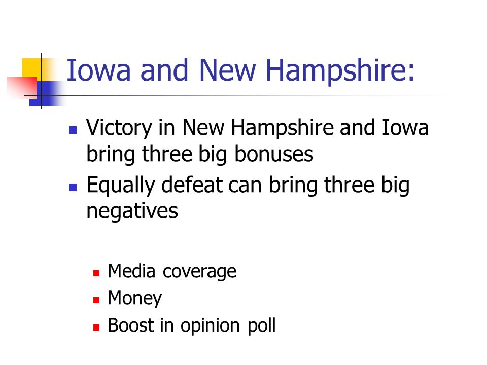 Iowa and New Hampshire: Victory in New Hampshire and Iowa bring three big bonuses Equally defeat can bring three big negatives Media coverage Money Bo