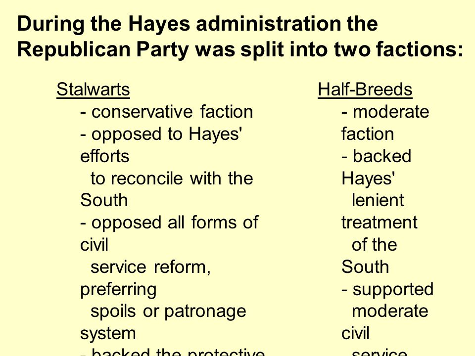Stalwarts - conservative faction - opposed to Hayes' efforts to reconcile with the South - opposed all forms of civil service reform, preferring spoil