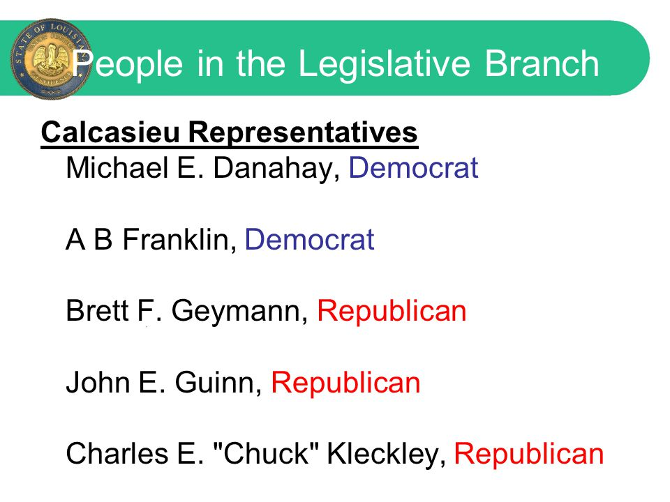 People in the Legislative Branch Senators for Calcasieu Parish Senator John R.