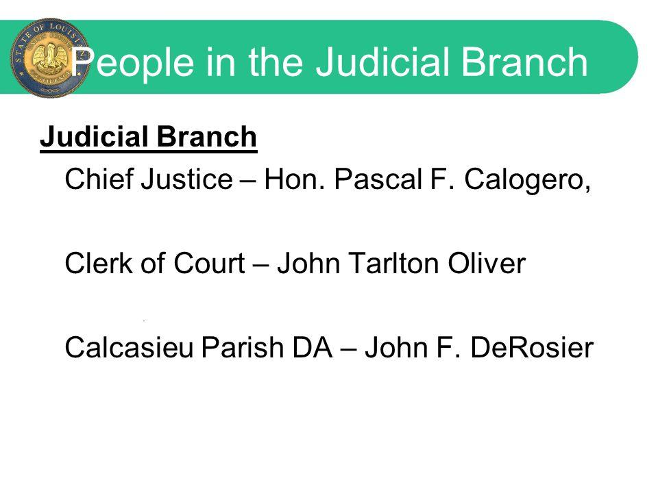People in the Judicial Branch Judicial Branch Chief Justice – Hon.