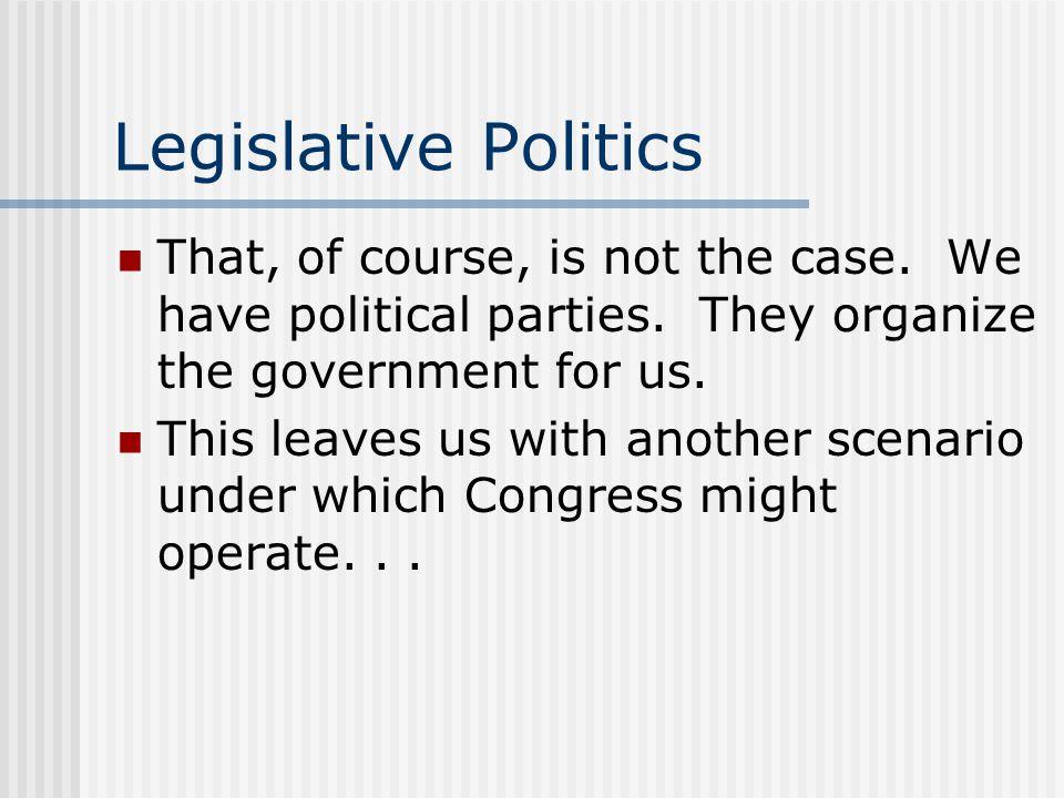 Legislative Politics That, of course, is not the case.
