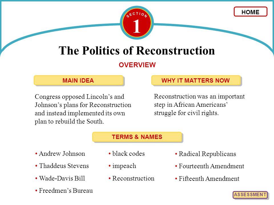 1 The Politics of Reconstruction ASSESSMENT Presidential ReconstructionCongressional Reconstruction 1.