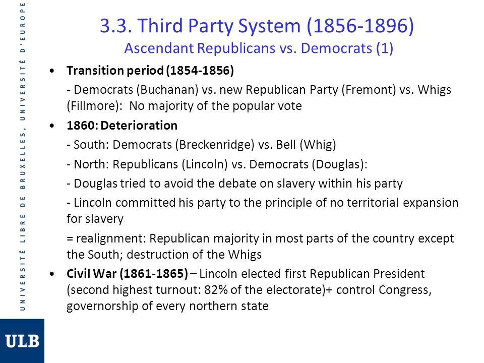 3.3. Third Party System (1856-1896) Ascendant Republicans vs. Democrats (1) Transition period (1854-1856) - Democrats (Buchanan) vs. new Republican Pa