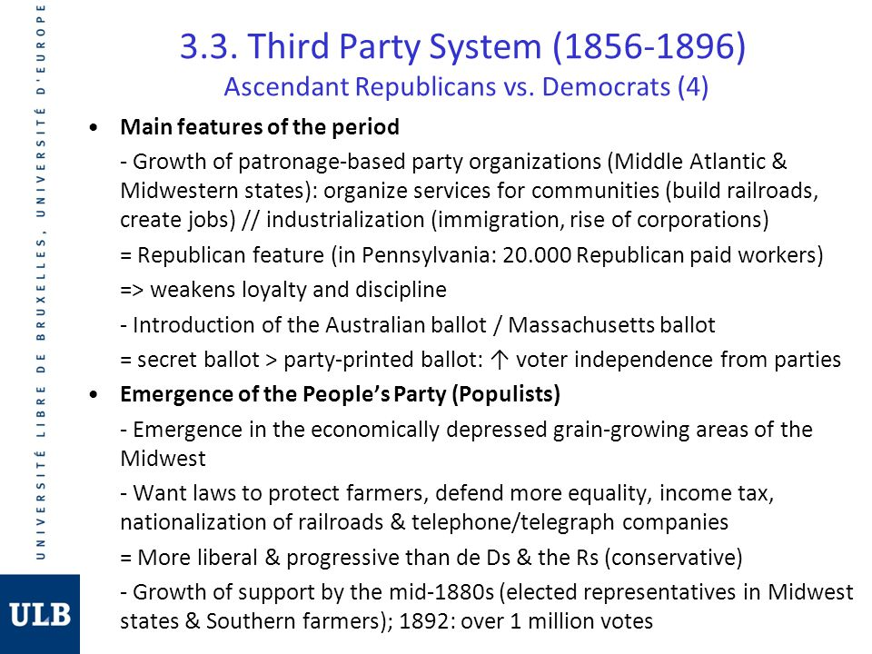 3.3. Third Party System (1856-1896) Ascendant Republicans vs. Democrats (4) Main features of the period - Growth of patronage-based party organization