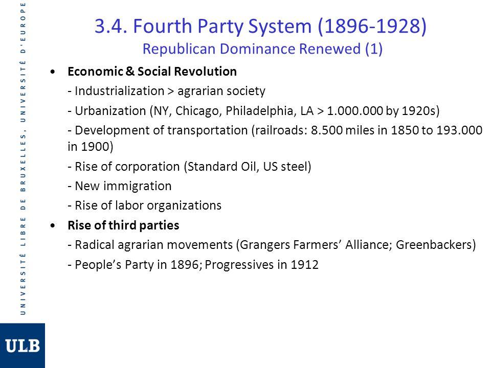 3.4. Fourth Party System (1896-1928) Republican Dominance Renewed (1) Economic & Social Revolution - Industrialization > agrarian society - Urbanizati