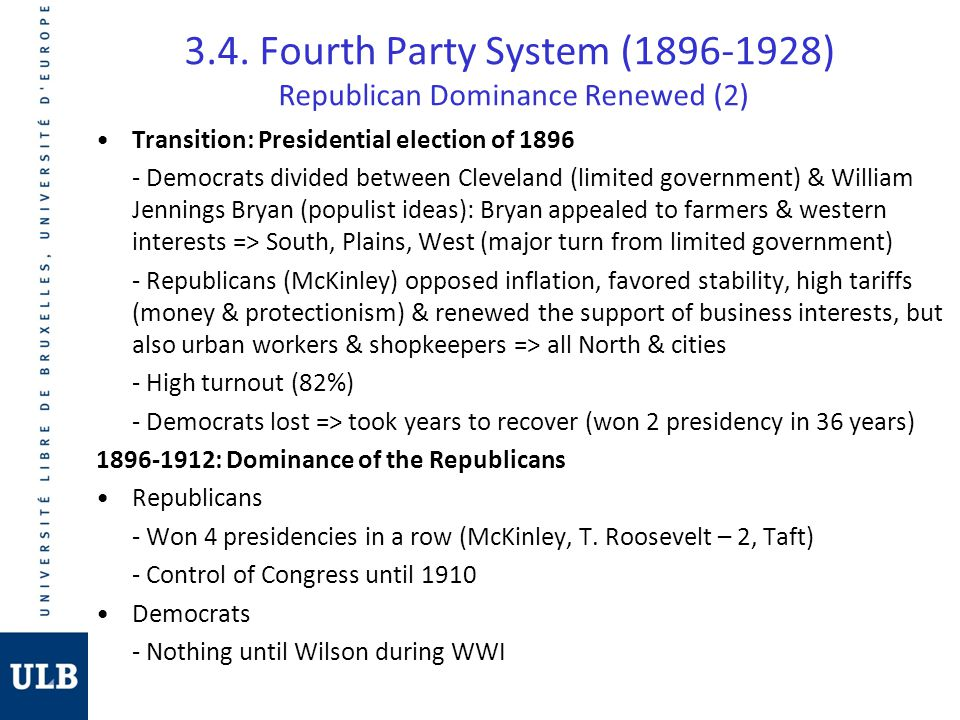 3.4. Fourth Party System (1896-1928) Republican Dominance Renewed (2) Transition: Presidential election of 1896 - Democrats divided between Cleveland