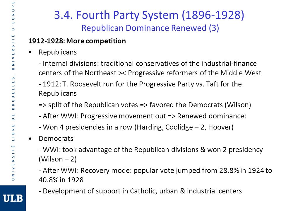 3.4. Fourth Party System (1896-1928) Republican Dominance Renewed (3) 1912-1928: More competition Republicans - Internal divisions: traditional conser
