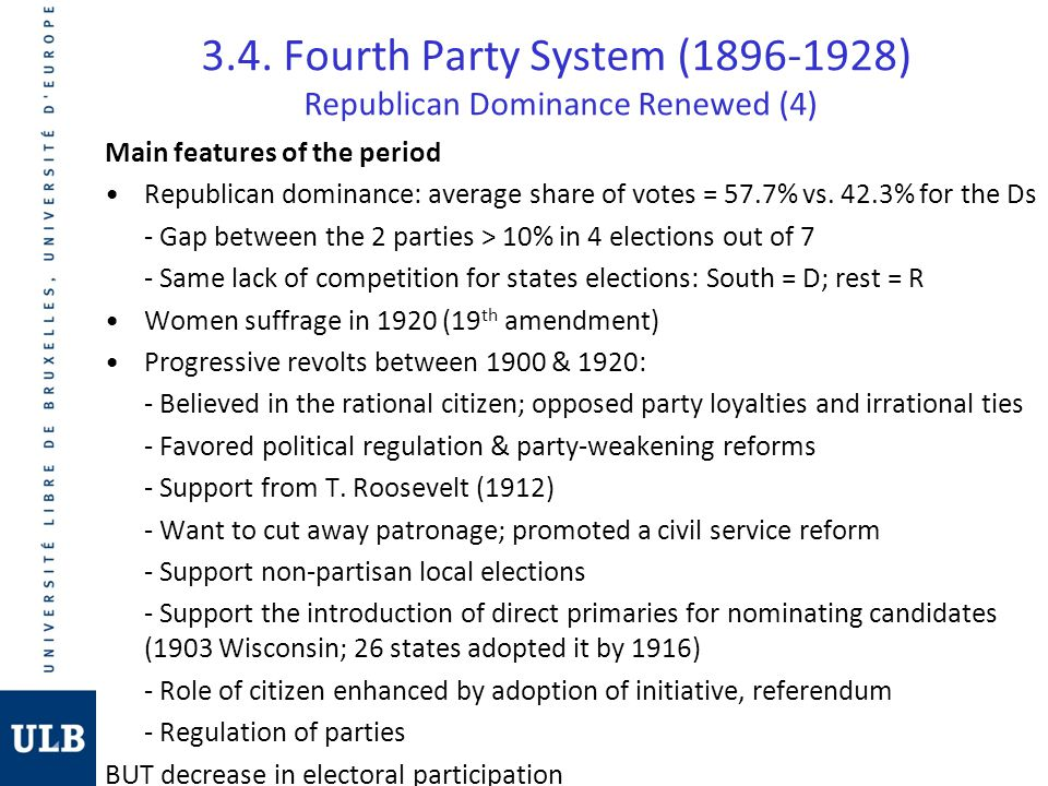 3.4. Fourth Party System (1896-1928) Republican Dominance Renewed (4) Main features of the period Republican dominance: average share of votes = 57.7%