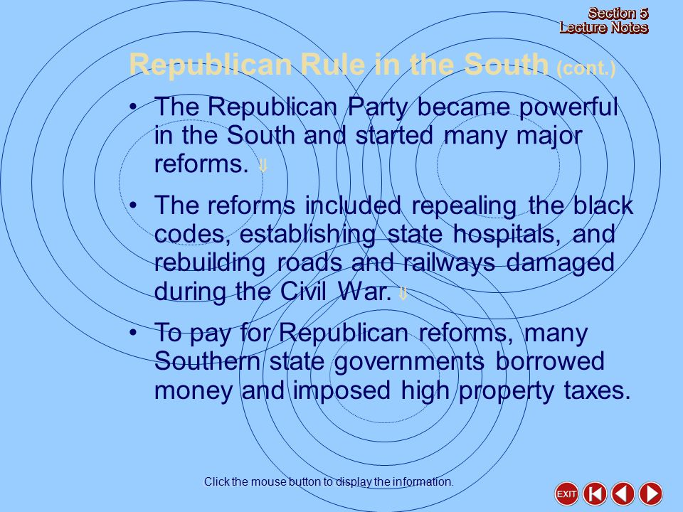 The Republican Party became powerful in the South and started many major reforms.