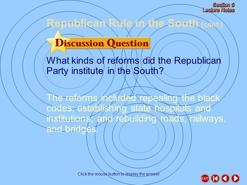 What kinds of reforms did the Republican Party institute in the South.