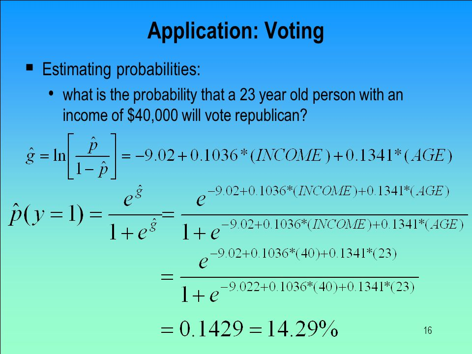 16 Application: Voting  Estimating probabilities: what is the probability that a 23 year old person with an income of $40,000 will vote republican