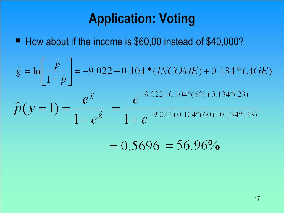 17 Application: Voting  How about if the income is $60,00 instead of $40,000