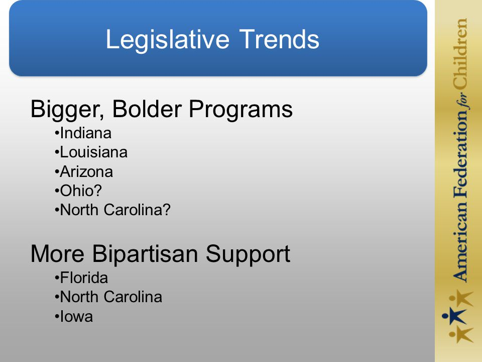 Legislative Trends Bigger, Bolder Programs Indiana Louisiana Arizona Ohio.