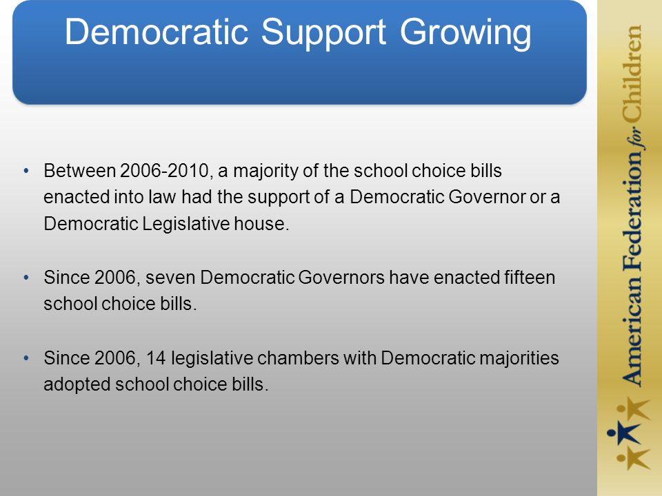Democratic Support Growing Between 2006-2010, a majority of the school choice bills enacted into law had the support of a Democratic Governor or a Democratic Legislative house.