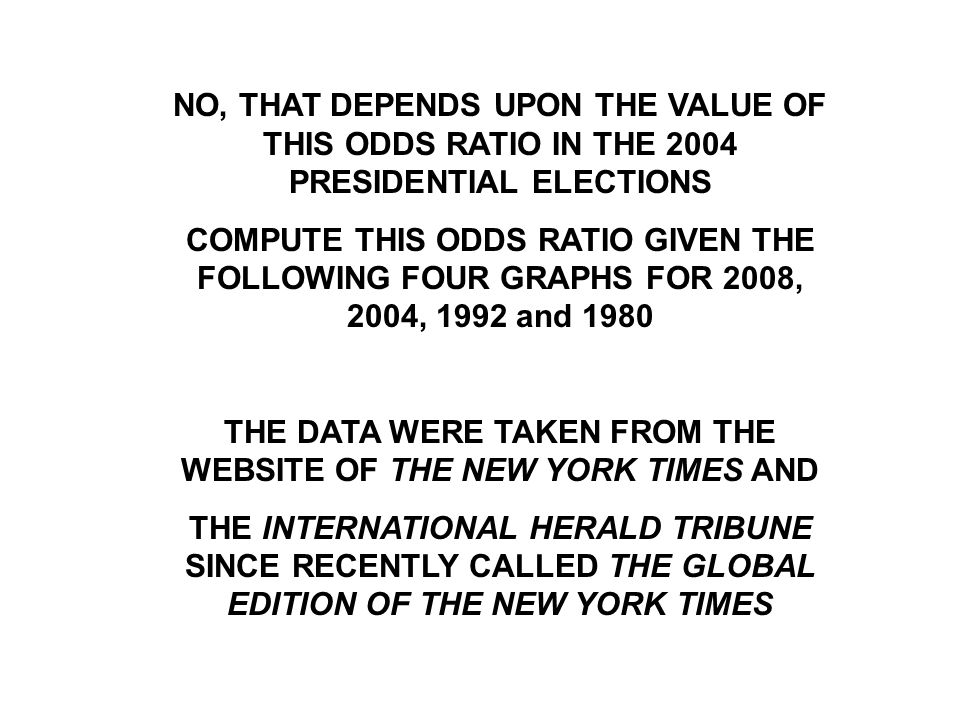 NO, THAT DEPENDS UPON THE VALUE OF THIS ODDS RATIO IN THE 2004 PRESIDENTIAL ELECTIONS COMPUTE THIS ODDS RATIO GIVEN THE FOLLOWING FOUR GRAPHS FOR 2008, 2004, 1992 and 1980 THE DATA WERE TAKEN FROM THE WEBSITE OF THE NEW YORK TIMES AND THE INTERNATIONAL HERALD TRIBUNE SINCE RECENTLY CALLED THE GLOBAL EDITION OF THE NEW YORK TIMES