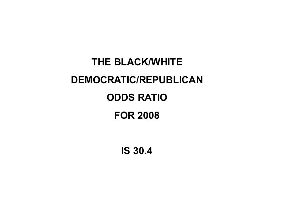 THE BLACK/WHITE DEMOCRATIC/REPUBLICAN ODDS RATIO FOR 2008 IS 30.4