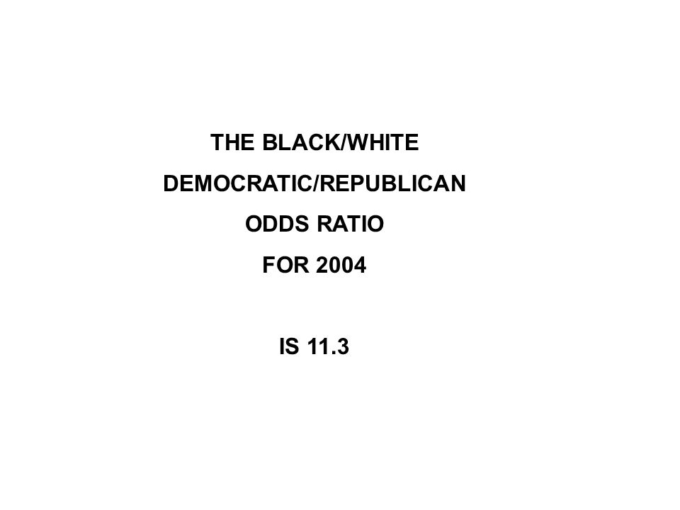 THE BLACK/WHITE DEMOCRATIC/REPUBLICAN ODDS RATIO FOR 2004 IS 11.3