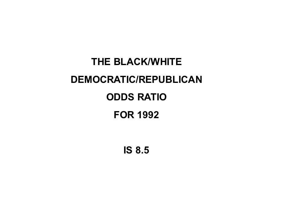 THE BLACK/WHITE DEMOCRATIC/REPUBLICAN ODDS RATIO FOR 1992 IS 8.5
