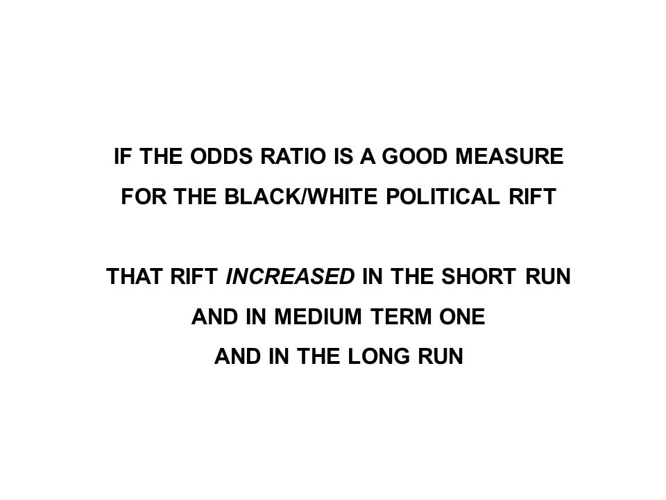 IF THE ODDS RATIO IS A GOOD MEASURE FOR THE BLACK/WHITE POLITICAL RIFT THAT RIFT INCREASED IN THE SHORT RUN AND IN MEDIUM TERM ONE AND IN THE LONG RUN