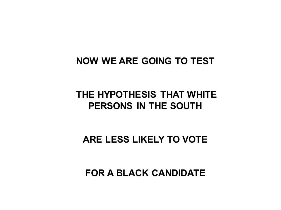 NOW WE ARE GOING TO TEST THE HYPOTHESIS THAT WHITE PERSONS IN THE SOUTH ARE LESS LIKELY TO VOTE FOR A BLACK CANDIDATE