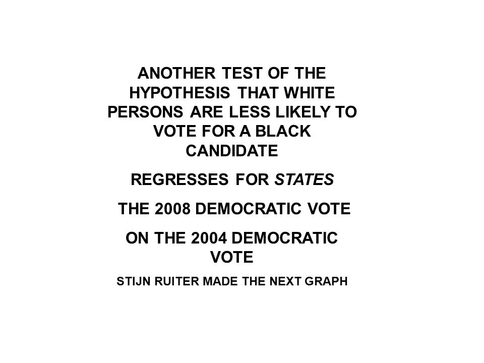 ANOTHER TEST OF THE HYPOTHESIS THAT WHITE PERSONS ARE LESS LIKELY TO VOTE FOR A BLACK CANDIDATE REGRESSES FOR STATES THE 2008 DEMOCRATIC VOTE ON THE 2