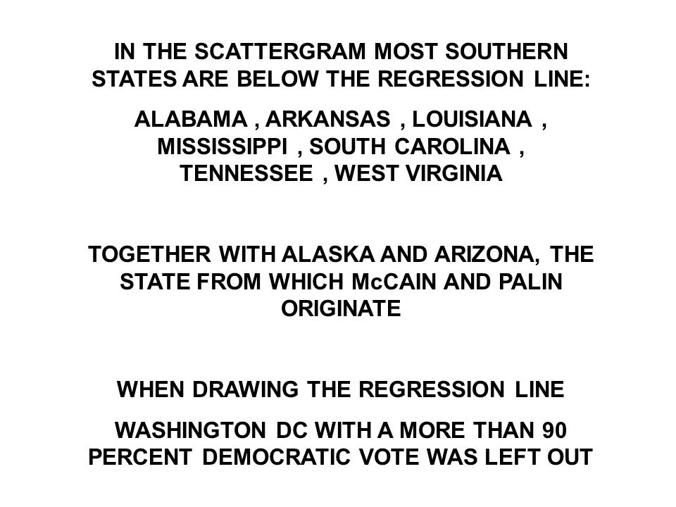 IN THE SCATTERGRAM MOST SOUTHERN STATES ARE BELOW THE REGRESSION LINE: ALABAMA, ARKANSAS, LOUISIANA, MISSISSIPPI, SOUTH CAROLINA, TENNESSEE, WEST VIRGINIA TOGETHER WITH ALASKA AND ARIZONA, THE STATE FROM WHICH McCAIN AND PALIN ORIGINATE WHEN DRAWING THE REGRESSION LINE WASHINGTON DC WITH A MORE THAN 90 PERCENT DEMOCRATIC VOTE WAS LEFT OUT