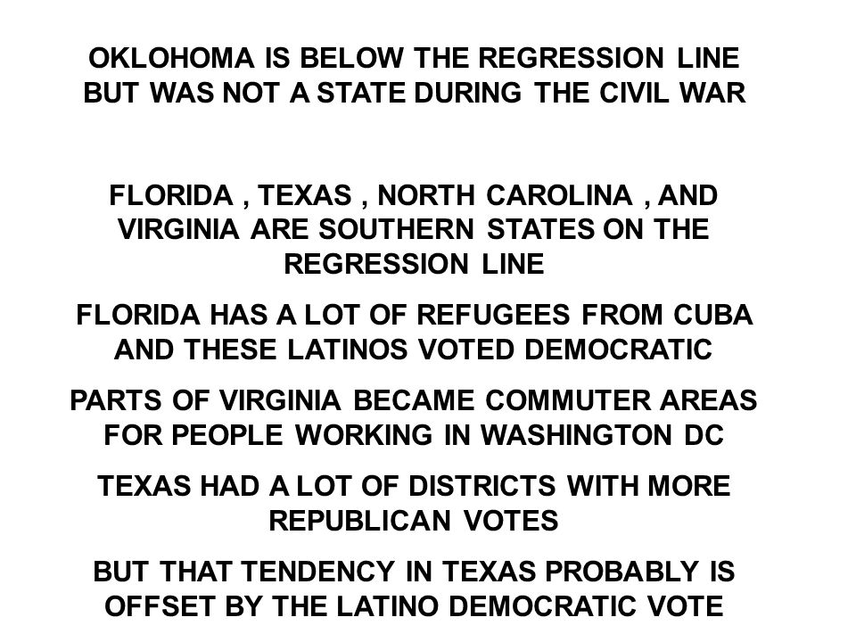 OKLOHOMA IS BELOW THE REGRESSION LINE BUT WAS NOT A STATE DURING THE CIVIL WAR FLORIDA, TEXAS, NORTH CAROLINA, AND VIRGINIA ARE SOUTHERN STATES ON THE REGRESSION LINE FLORIDA HAS A LOT OF REFUGEES FROM CUBA AND THESE LATINOS VOTED DEMOCRATIC PARTS OF VIRGINIA BECAME COMMUTER AREAS FOR PEOPLE WORKING IN WASHINGTON DC TEXAS HAD A LOT OF DISTRICTS WITH MORE REPUBLICAN VOTES BUT THAT TENDENCY IN TEXAS PROBABLY IS OFFSET BY THE LATINO DEMOCRATIC VOTE