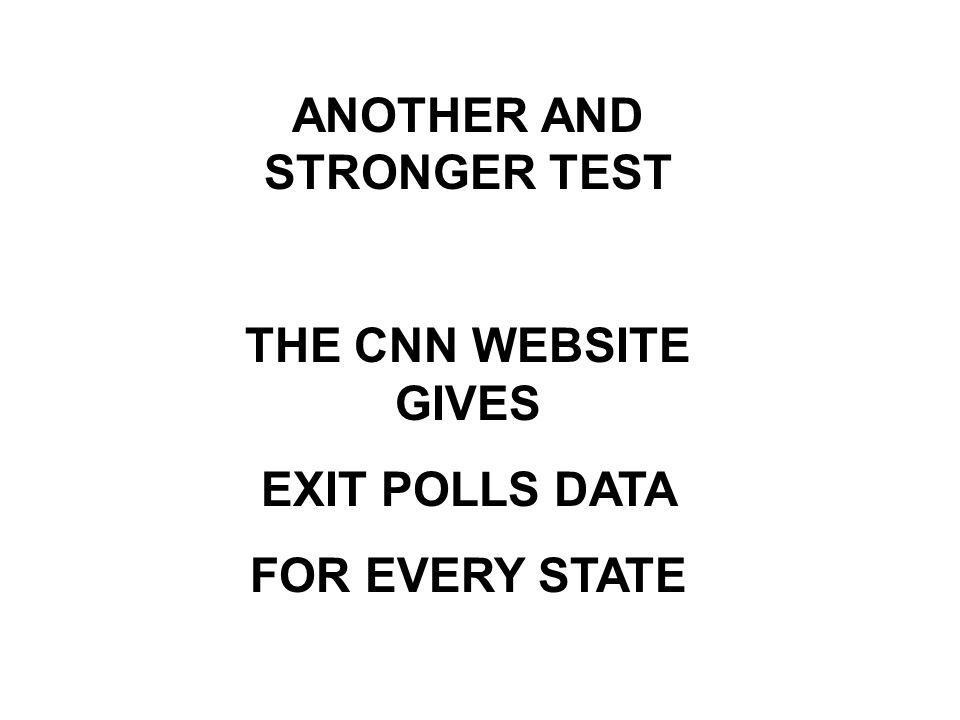 ANOTHER AND STRONGER TEST THE CNN WEBSITE GIVES EXIT POLLS DATA FOR EVERY STATE