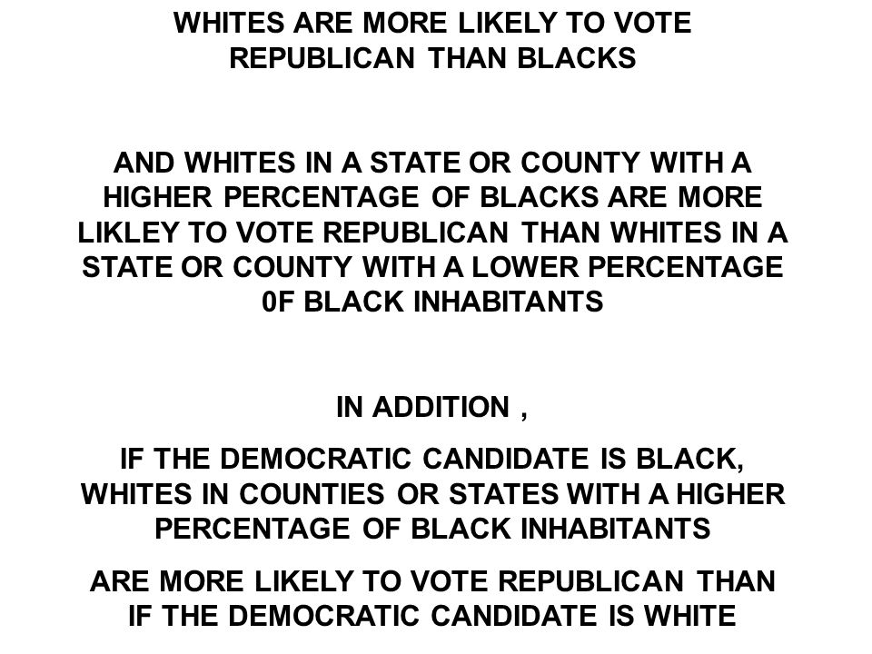 WHITES ARE MORE LIKELY TO VOTE REPUBLICAN THAN BLACKS AND WHITES IN A STATE OR COUNTY WITH A HIGHER PERCENTAGE OF BLACKS ARE MORE LIKLEY TO VOTE REPUBLICAN THAN WHITES IN A STATE OR COUNTY WITH A LOWER PERCENTAGE 0F BLACK INHABITANTS IN ADDITION, IF THE DEMOCRATIC CANDIDATE IS BLACK, WHITES IN COUNTIES OR STATES WITH A HIGHER PERCENTAGE OF BLACK INHABITANTS ARE MORE LIKELY TO VOTE REPUBLICAN THAN IF THE DEMOCRATIC CANDIDATE IS WHITE