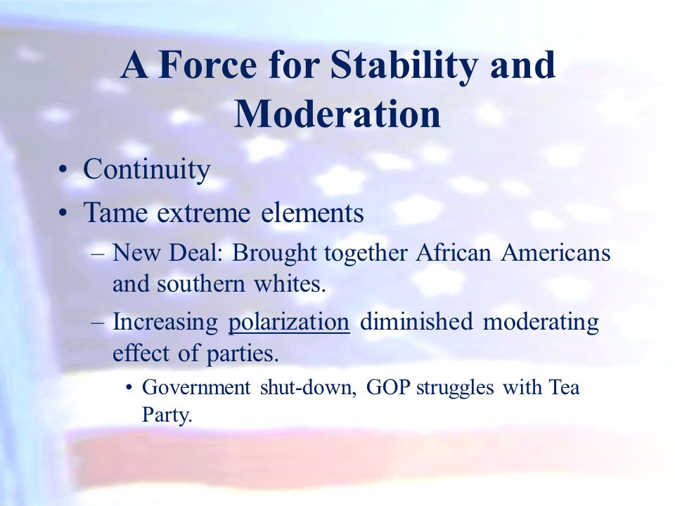 A Force for Stability and Moderation Continuity Tame extreme elements –New Deal: Brought together African Americans and southern whites. –Increasing p
