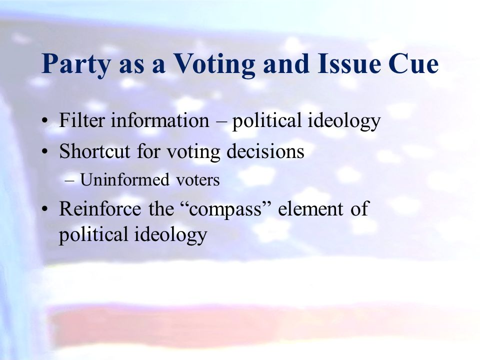 """Party as a Voting and Issue Cue Filter information – political ideology Shortcut for voting decisions –Uninformed voters Reinforce the """"compass"""" eleme"""