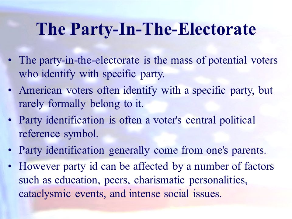 The Party-In-The-Electorate The party-in-the-electorate is the mass of potential voters who identify with specific party. American voters often identi