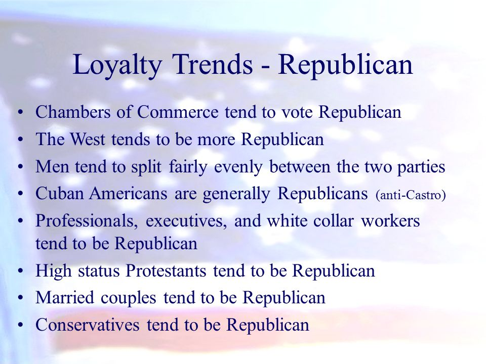 Chambers of Commerce tend to vote Republican The West tends to be more Republican Men tend to split fairly evenly between the two parties Cuban Americ