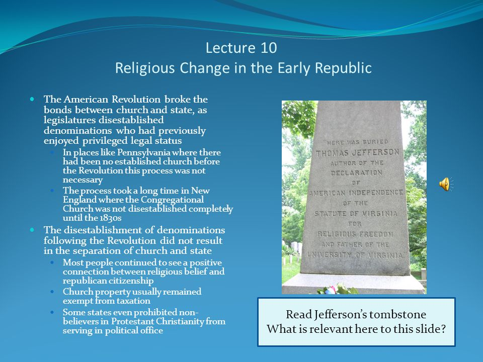 Lecture 10 The Crisis Over Missouri The growing differences between North and South over slavery first came to the surface in Missouri's bid for statehood Congressman James Tallmadge of New York proposed an amendment that statehood for Missouri would only be accepted if the state banned new slaves and enacted gradual emancipation for slaves already there White Southerners passionately opposed the amendment, increasingly taking the position that slavery was not a necessary evil, but a positive good Solid southern opposition led to a political compromise engineered by Henry Clay Maine admitted with Missouri to keep balance between the number of free and slave states (key in the U.S.