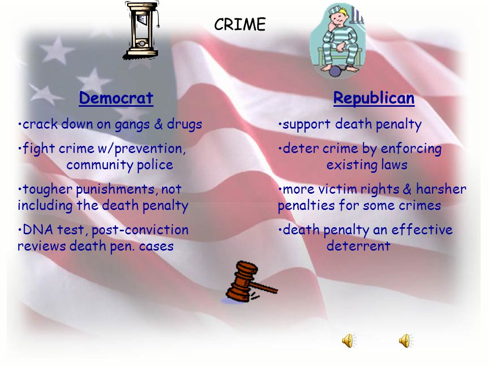 CRIME Democrat crack down on gangs & drugs fight crime w/prevention, community police tougher punishments, not including the death penalty DNA test, post-conviction reviews death pen.