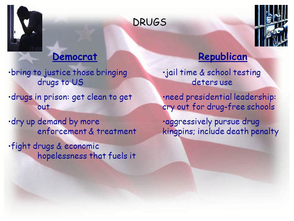 DRUGS Democrat bring to justice those bringing drugs to US drugs in prison: get clean to get out dry up demand by more enforcement & treatment fight drugs & economic hopelessness that fuels it Republican jail time & school testing deters use need presidential leadership: cry out for drug-free schools aggressively pursue drug kingpins; include death penalty
