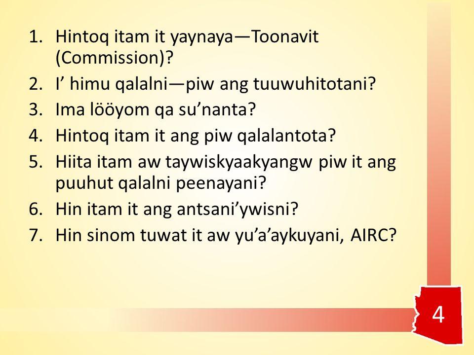 1.Hintoq itam it yaynaya—Toonavit (Commission). 2.I' himu qalalni—piw ang tuuwuhitotani.