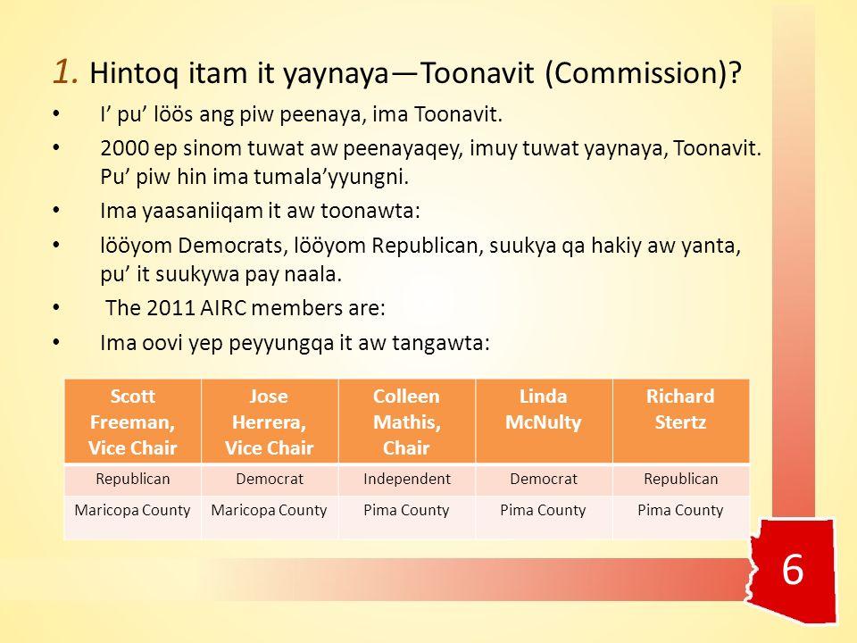 1. Hintoq itam it yaynaya—Toonavit (Commission). I' pu' löös ang piw peenaya, ima Toonavit.