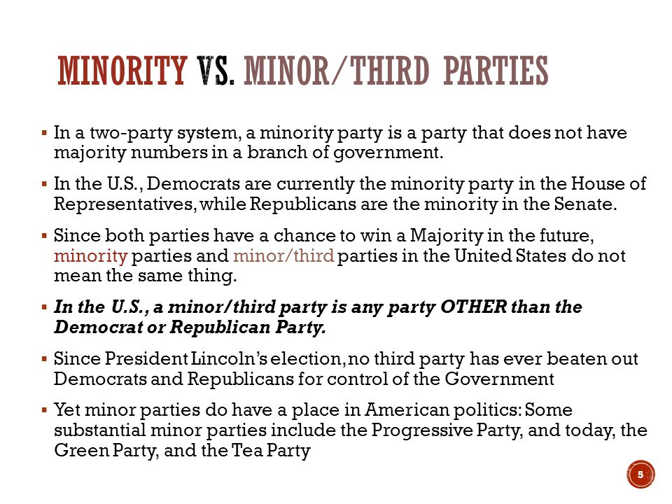 In a two-party system, a minority party is a party that does not have majority numbers in a branch of government.