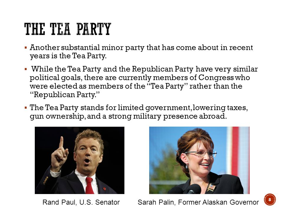  Another substantial minor party that has come about in recent years is the Tea Party.