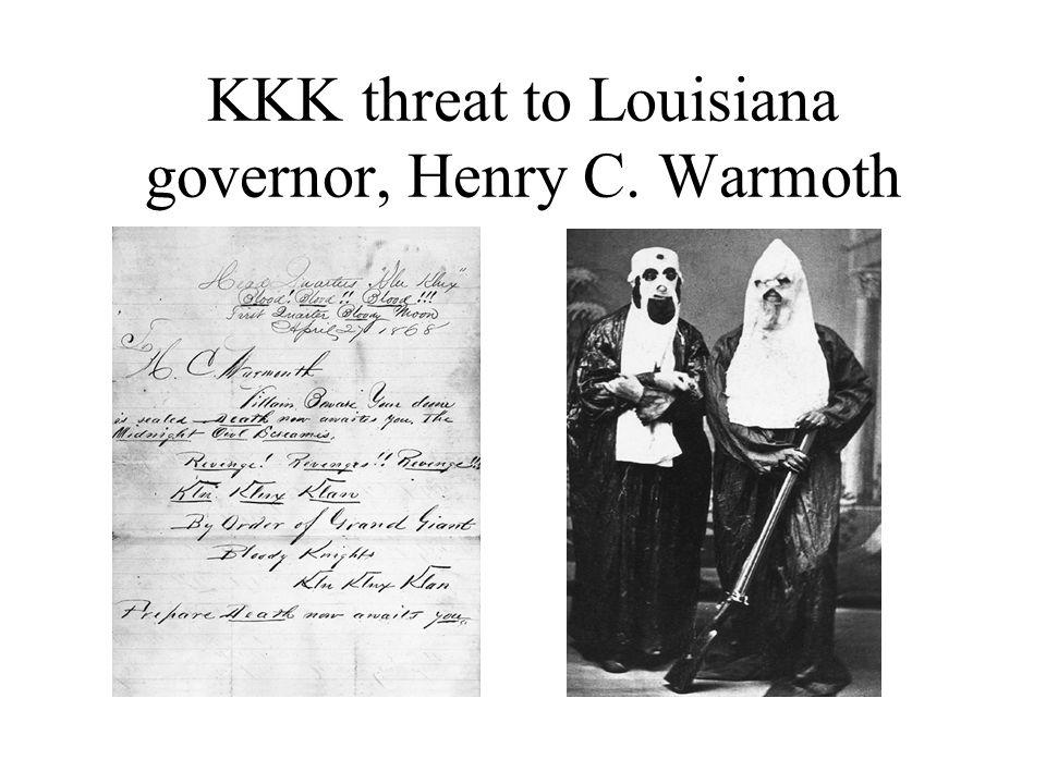 KKK threat to Louisiana governor, Henry C. Warmoth