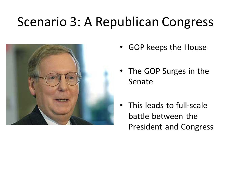 Scenario 3: A Republican Congress GOP keeps the House The GOP Surges in the Senate This leads to full-scale battle between the President and Congress