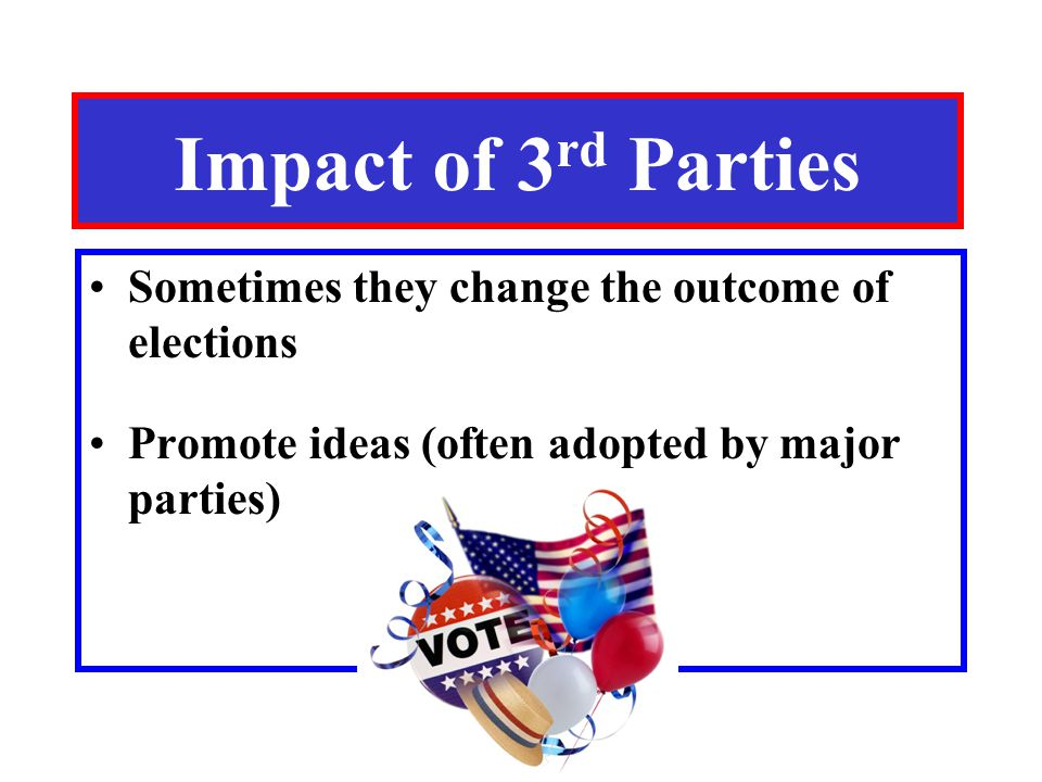 Impact of 3 rd Parties Sometimes they change the outcome of elections Promote ideas (often adopted by major parties)