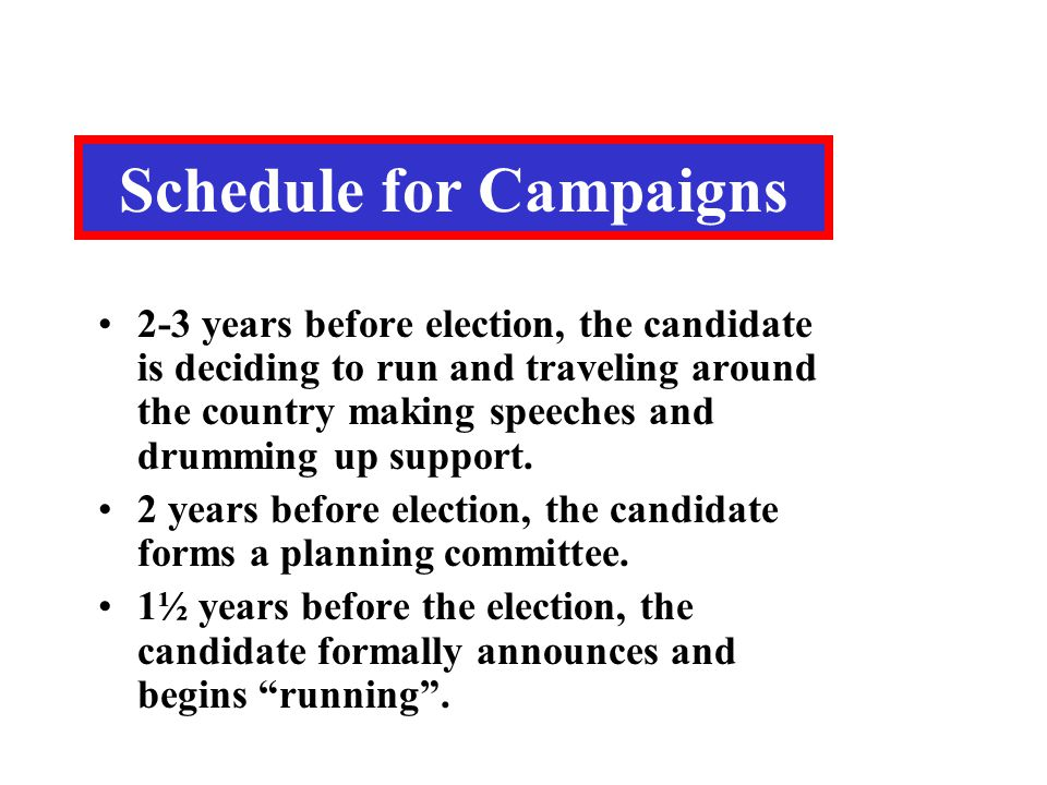 Schedule for Campaigns 2-3 years before election, the candidate is deciding to run and traveling around the country making speeches and drumming up su