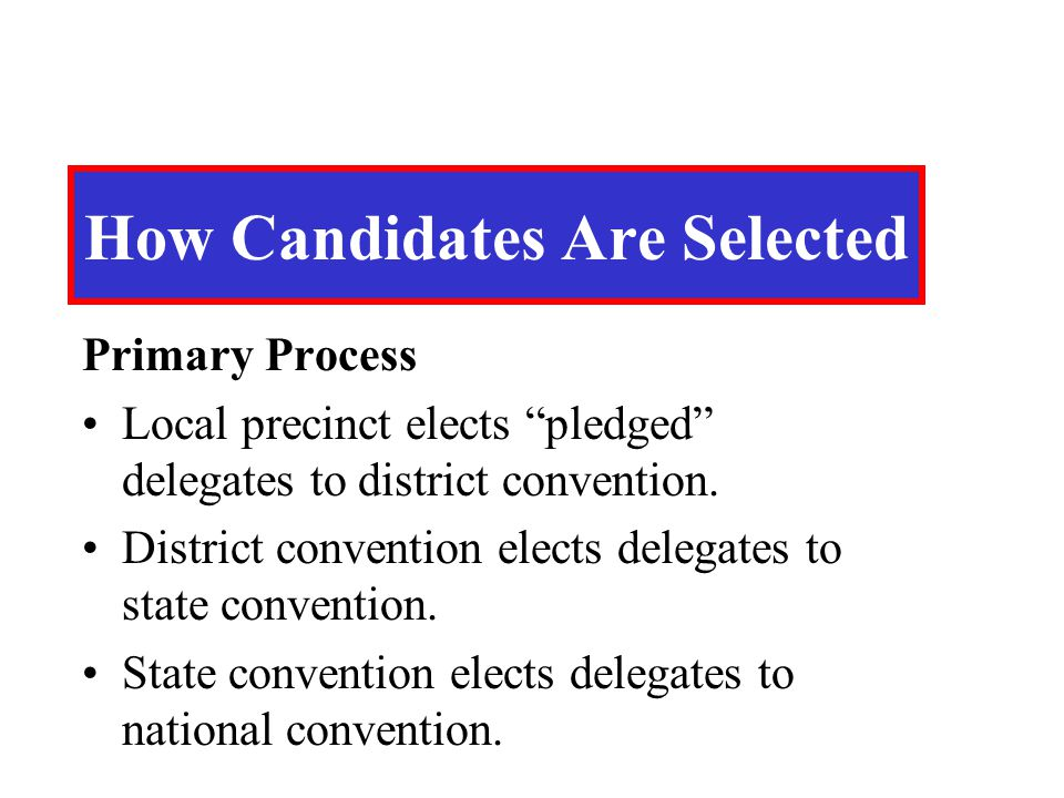 "Primary Process Local precinct elects ""pledged"" delegates to district convention. District convention elects delegates to state convention. State conv"