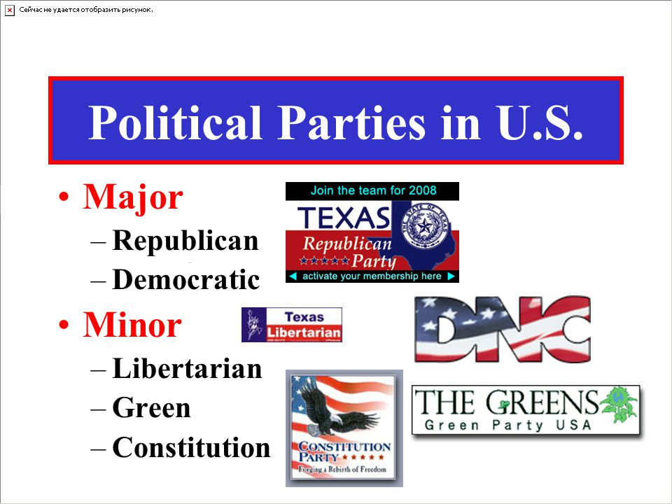 Political Parties in U.S. Major –Republican –Democratic Minor –Libertarian –Green –Constitution