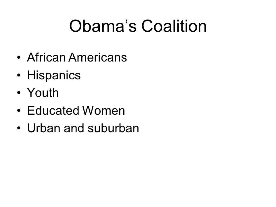 Obama's Coalition African Americans Hispanics Youth Educated Women Urban and suburban