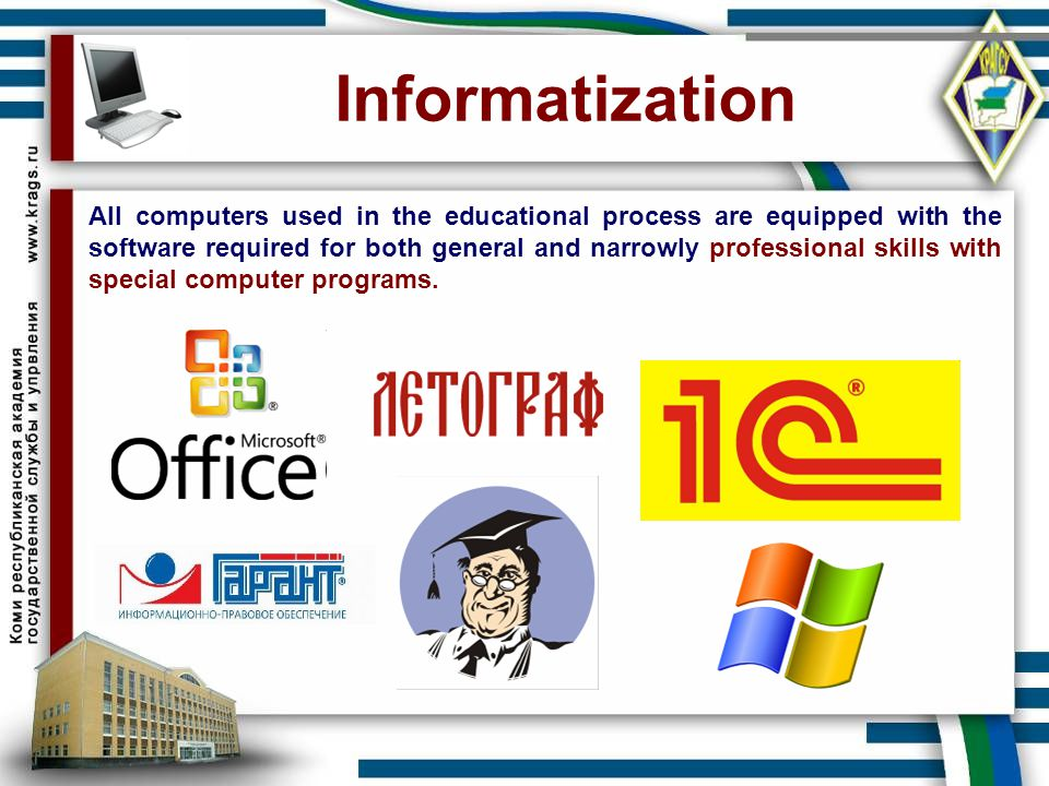 Informatization All computers used in the educational process are equipped with the software required for both general and narrowly professional skill